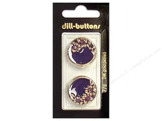 button: Dill Shank Buttons 7/8 in. Enamel Purple/Gold #778 2pc.