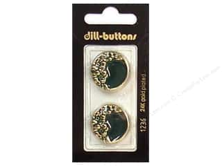 Dill Buttons 23mm Shank Enamel Green/Gold 2 pc