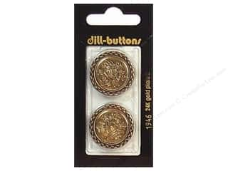 Dill Buttons 25mm Shank Antique Gold 2 pc