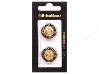 Dill Buttons 20mm Shank Enamel Navy/Gold 2 pc