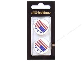 Memorial / Veteran's Day Blue: Dill Shank Buttons 1 in. USA Flag #1591 2pc.