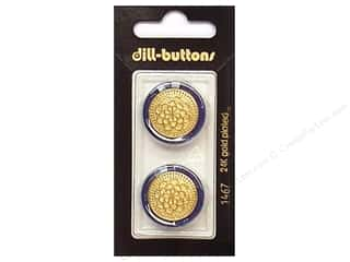 G.E. Designs $7 - $8: Dill Shank Buttons 7/8 in. Blue/Gold Metal #1467 2pc.