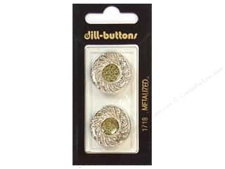 Glitter .8 mm: Dill Shank Buttons 7/8 in. Silver #1718 2pc.