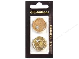 Dill Buttons 23mm Shank Rhinestone Gold 2 pc