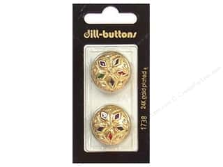 Dill Buttons 23mm Shank Enamel Gold Multi 2 pc