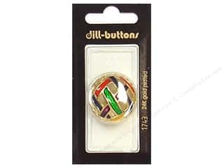 Dill Buttons 28mm Shank Enamel Gold Multi 1 pc