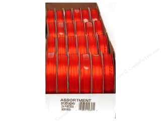 Offray Spool-O-Ribbon Dblfc Satin Ast Red (24 spools)