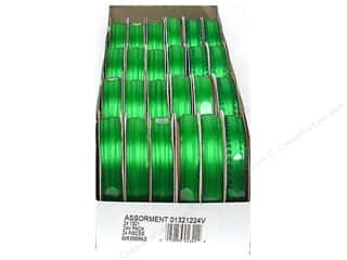 Offray Spool-O-Ribbon Dblfc Satin Ast Emerald (24 spools)