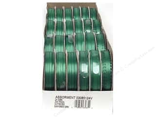 Offray Spool-O-Ribbon Double Face Satin Forest Grn (24 spools)