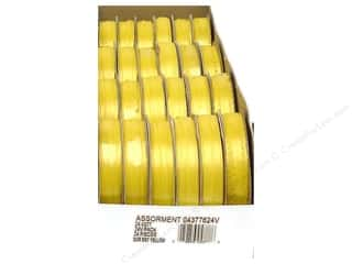 Offray Spool-O-Ribbon Dblfc Satin Ast Brt Yellow (24 spools)
