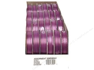 Offray Spool-O-Ribbon Dblfc Satin Ast Amethyst (24 spools)