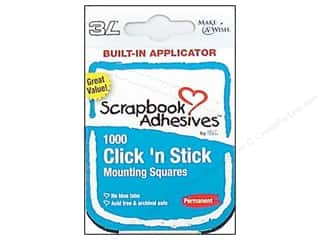 Glues Adhesives & Tapes: 3L Click 'n Stick Mounting Squares 1000 pc. White