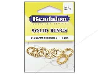 Bands New: Beadalon Solid Rings 11 x 16 mm Textured Gold 7 pc.