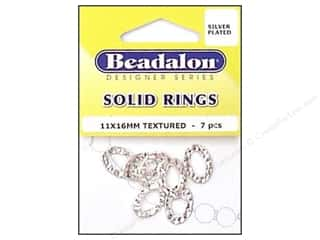 Bands New: Beadalon Solid Rings 11 x 16 mm Textured Silver 7 pc.