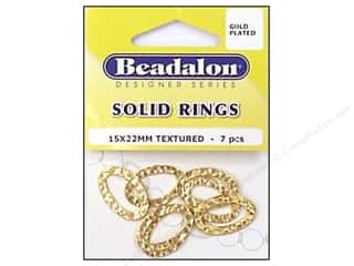 Hammers New: Beadalon Solid Rings 15 x 22 mm Textured Gold 7 pc.