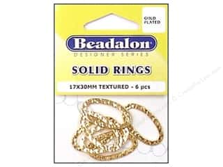 Earrings 1 1/8 in: Beadalon Solid Rings 17 x 30 mm Textured Gold 6 pc.