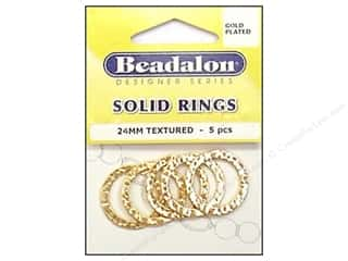 Earrings 7/8 in: Beadalon Solid Rings 24 mm Textured Gold 5 pc.