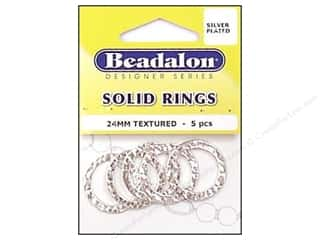 Bands New: Beadalon Solid Rings 24 mm Textured Silver 5 pc.