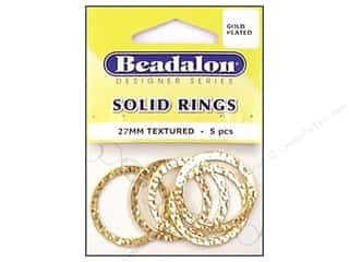 Bracelets $8 - $27: Beadalon Solid Rings 27 mm Textured Gold 5 pc.