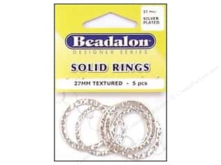 Beadalon Jump Rings/Spring Rings: Beadalon Solid Rings 27 mm Textured Silver 5 pc.