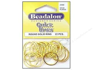 Jump Rings / Spring Rings: Beadalon QL Round 20mm Gold Plated 22pc