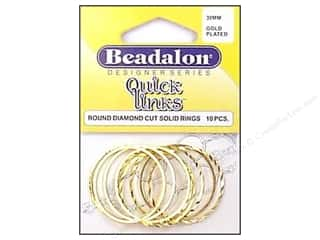 Jump Rings / Spring Rings: Beadalon Quick Links Round Diamond Cut 30 mm Gold 10 pc.