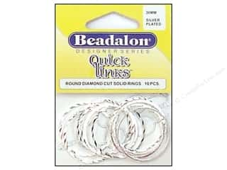 Jump Rings / Spring Rings: Beadalon Quick Links Round Diamond Cut 30 mm Silver 10 pc.