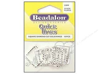 Clearance Blumenthal Favorite Findings: Beadalon Quick Links Square Diamond Cut  20mm Silver 10pc
