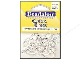 jump rings: Beadalon Quick Links Heart Diamond Cut 19 x 21 mm Silver Plated 14 pc.