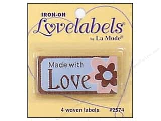 Captions Sewing & Quilting: Blumenthal Iron-On Lovelabels 4 pc. Made With Love with Flower