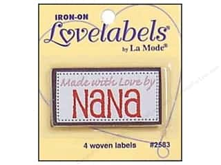 Sewing & Quilting Family: Blumenthal Iron-On Lovelabels 4 pc. Made With Love By Nana
