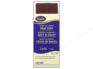 Wrights Poly Hem Tape 3yd Seal Brown