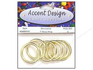 "Brass Rings Packaged 1"" 6 pc (3 packages)"