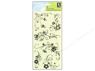 Clearance Plaid Stamps Clear: Inkadinkado InkadinkaClings Clear Stamp Floral Flourishes