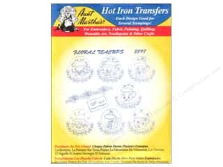 Tea & Coffee inches: Aunt Martha's Hot Iron Transfer #3897 Blue Floral Teacups