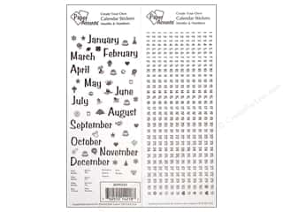 Calendars Clear: Paper Accents Stickers Calendar Months & Numbers Small Black