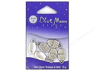 Blue Moon Charms Metal Love Slvr 10pc