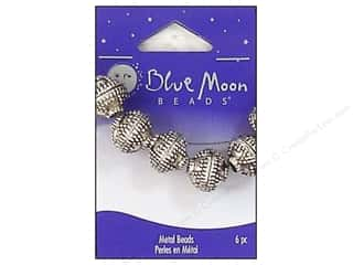 Blue Moon Beads Metal Round w/Dots Silver  6pc