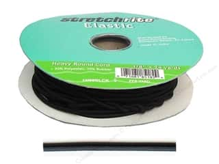 Cording: Stretchrite Elastic Cord Round 1/8 in. x 24 yd Black (24 yards)