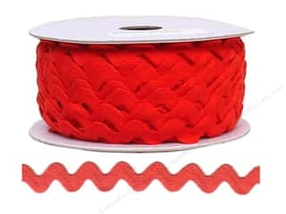 Ribbon Work Tapes: Ric Rac by Cheep Trims  11/16 in. Red (24 yards)