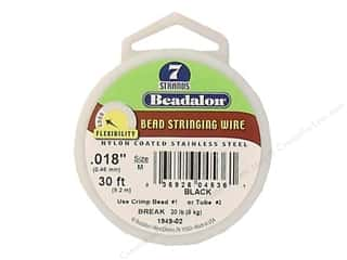 "7"" wire: Beadalon Bead Wire 7 Strand .018 in. Black 30 ft."