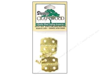 "Darice Hardware Hinge 7/8"" Brass Curved 2 Set"