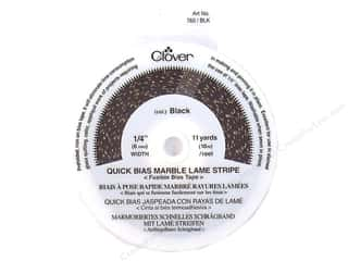 "quick bias: Clover Fusible QB 1/4"" Mrbl Lame Stripe Blk 11yd"