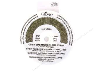 "quick bias: Clover Fusible QB 1/4"" Mrbl Lame Stripe Grn 11yd"