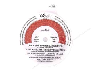 quilting Tape: Clover Fusible QB 1/4&quot; Mrbl Lame Stripe Red 11yd