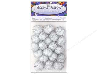 Pom Poms Pom Pom by Accent Design 1/2 in: Pom Pom by Accent Design 1/2 in. White/Silver Glitter 20pc.