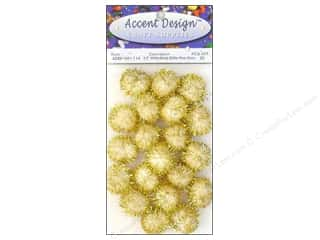 Basic Components $1 - $2: Pom Pom by Accent Design 1/2 in. White/Gold Glitter 20pc.