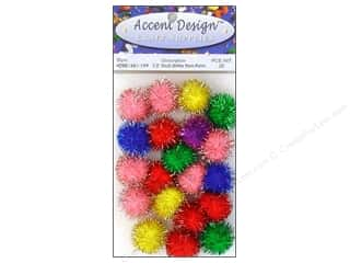 "Pom Poms multi: Accent Design Pom Pom 1/2"" Multi Glitter 20pc"
