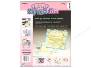 "Grafix Shrink Film 8.5""x 11"" 6pc Ink Jet White"