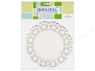 "Novelty Items Sewing Novelties: Fox Run Craftsmen Paper Doily 6"" Round 24 pc White"